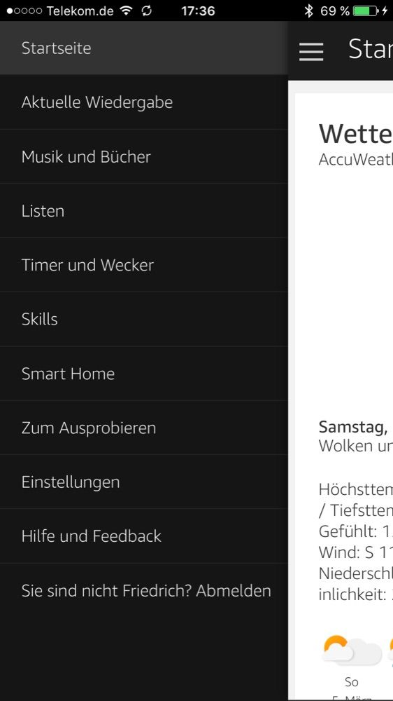 Amazon Echo Dot Einstellungen in der Alexa App