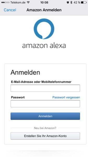 Nach dem Start der Alexa App meldest du dich an.