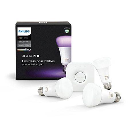 Philips Hue LED Lampe E27 Starter Set 3. Generation inkl. Bridge, dimmbar, 16 Mio Farben, kompatibel mit Amazon Alexa (Echo, Echo Dot)