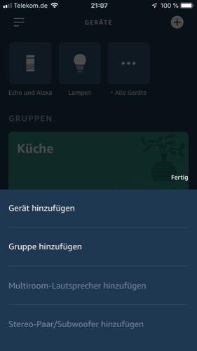 Geräte hinzufügen in Alexa-App