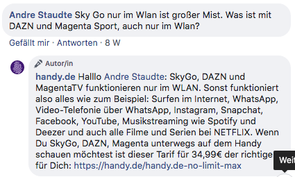 Infos aus der Diskussion zum handy.de No Limit Tarif