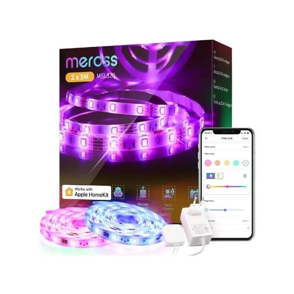 Meross WLAN LED Streifen - Funktioniert mit Apple HomeKit, Google Assistant, Amazon Alexa und IFTTT - WLAN 2,4 GHz