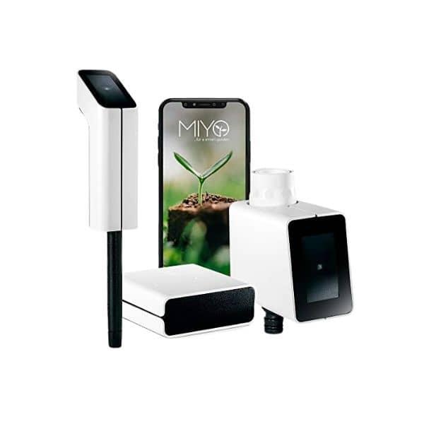MIYO Smarte Gartenbewässerung - Im Starter Set ist MIYO Smart-Ventil und Smart-Sensor enthalten - Solarbetrieben