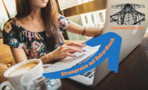 Stromtarife vergleichen mit Check24. Auf dem Bild ist eine Frau sitzend am Tisch mit einer Tasse Kaffee und vor einem Laptop.