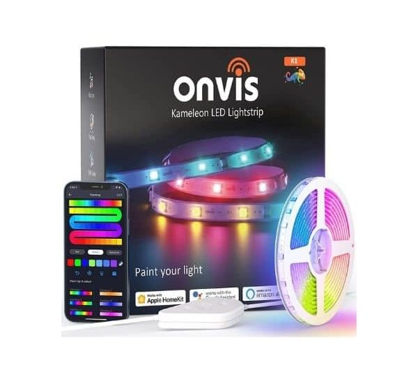Onvis RGBIC WLAN LED-Streifen - Funktioniert mit Apple HomeKit, Amazon Alexa und Google Assistant - mit Musiksynchronisation